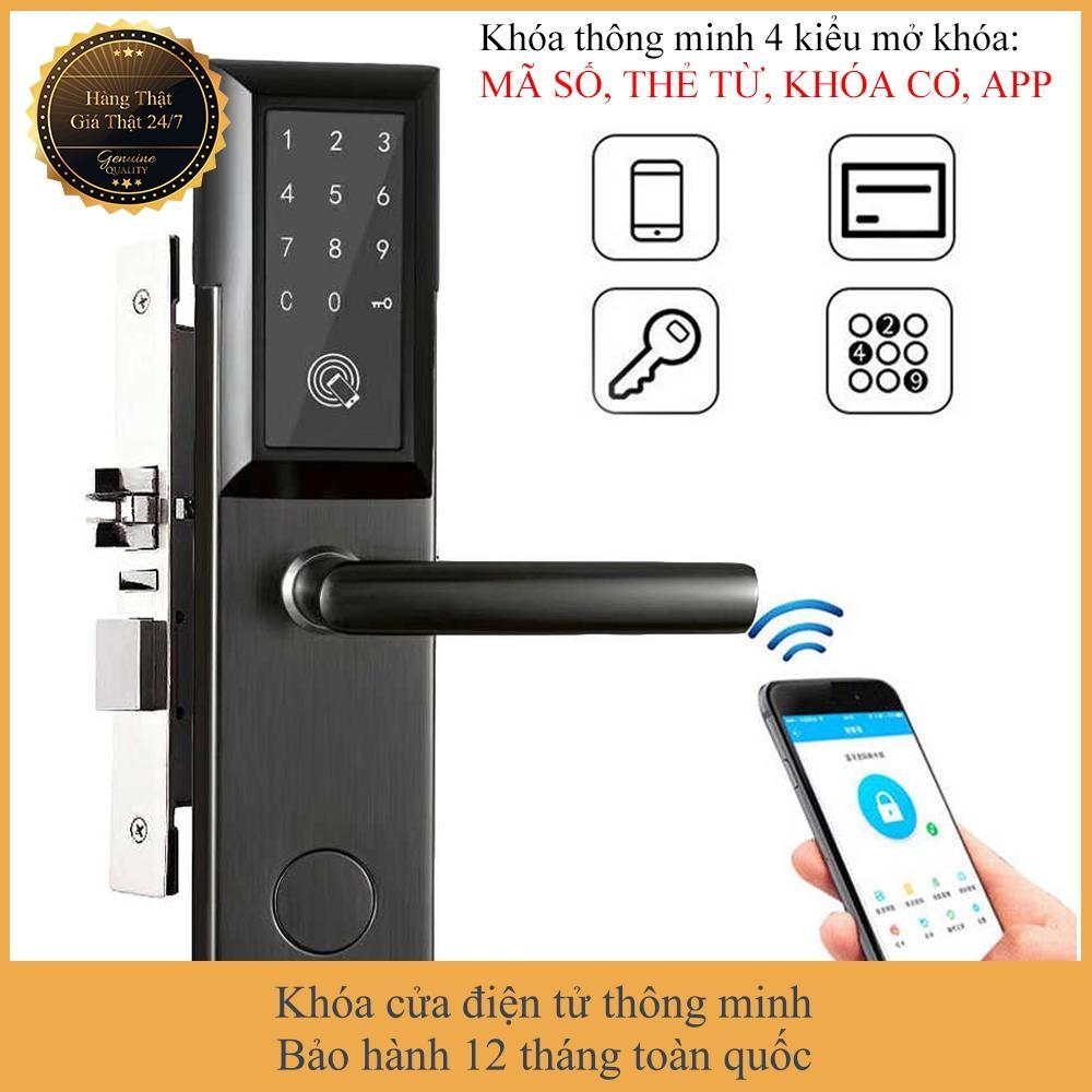 [APP iOS/Android tiếng Việt] Khóa cửa điện tử thông minh khóa chống trộm dùng APP- Khóa thẻ từ, Khóa mã số Khóa cơ- Kết nối Bluetooth - Bảo hành 12 tháng - Hỗ trợ lắp đặt và cài đặt - Mở bên phải - Smart Lock Smart Door Lock Smart Applock