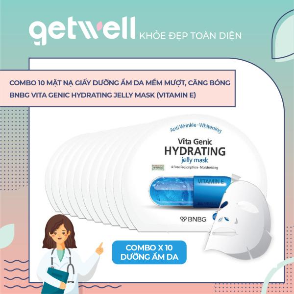 [HCM]Combo 10 Mặt nạ giấy cấp nước dưỡng ẩm da mềm mượt căng bóng  BNBG Vita Genic Hydrating Jelly Mask (Vitamin E) 30mlx10