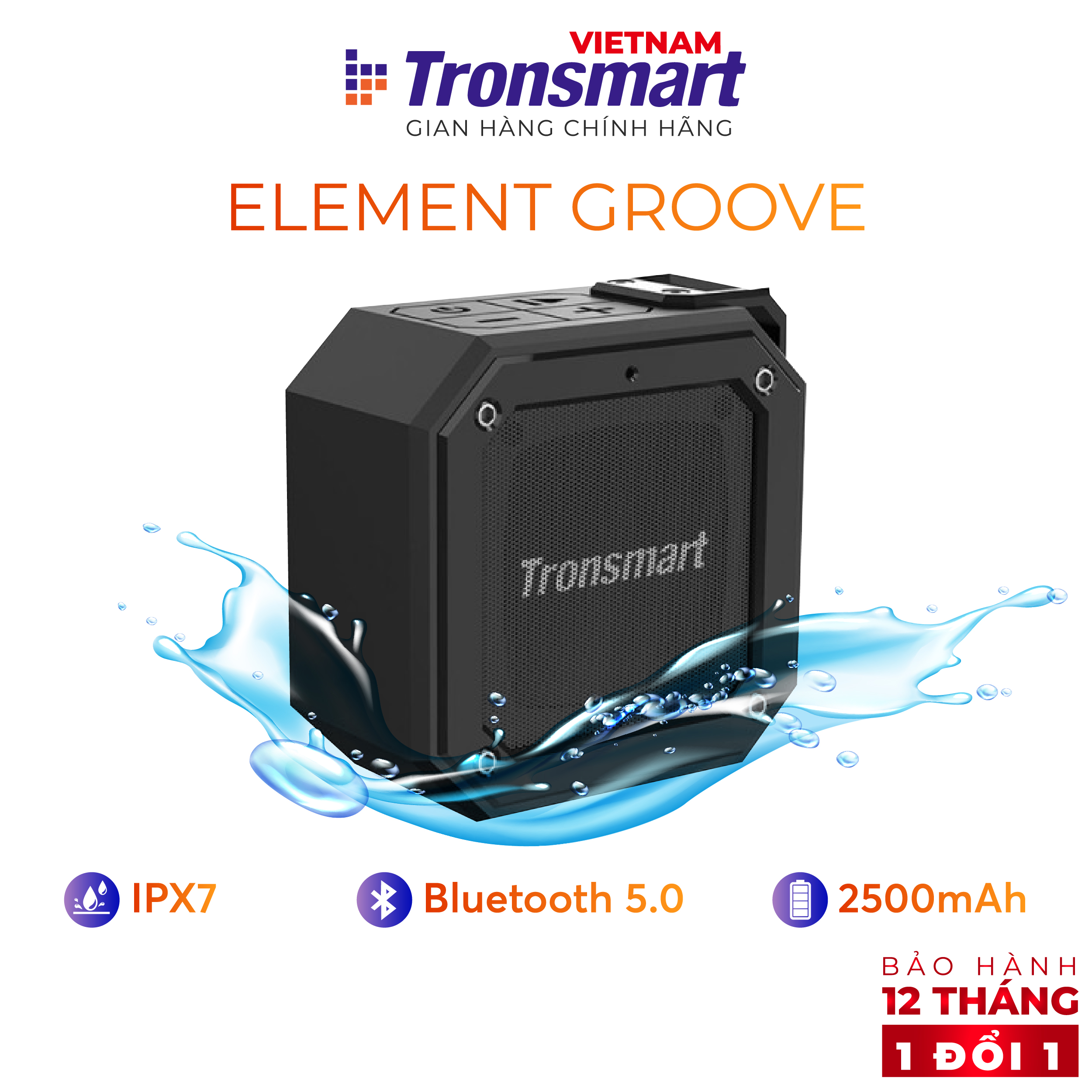 [VOUCHER 7% tối đa 500K] Loa Bluetooth Tronsmart Groove Speaker Chống nước IPX7 - Hàng chính hãng - Bảo hành 12 tháng 1 đổi 1