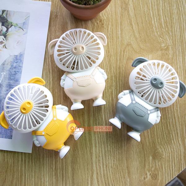 Quạt Mini Cầm Tay Hình Heo 2 Chế Độ Gió Cực Mát