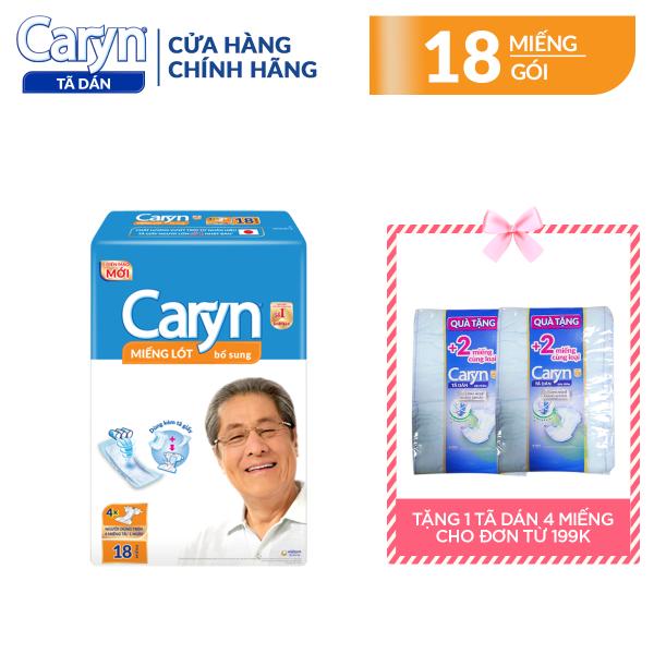 Miếng lót bổ sung Caryn 18 miếng cho người lớn (dùng trên 4 miếng/ngày), với công nghệ nano bạc kháng khuẩn ngăn ngừa vi khuẩn và kiểm soát mùi hiệu quả