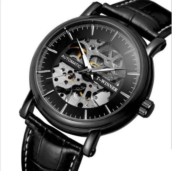 Đồng hồ cơ nam T-Winner H273M lộ máy (M Mặt đen vỏ đen)