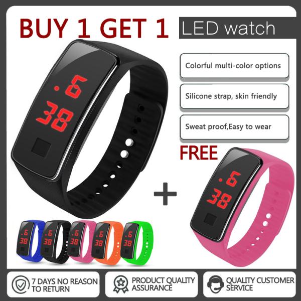 Mua 1 tặng 1 2020 mới màu phong cách Đồng hồ điện tử LED(đen)