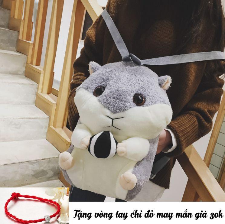 Giá bán [Made in Việt Nam] Ba lô chuột hamster, hình thú bông siêu dễ thương, có chỗ xỏ tay giữ ấm (Tặng vòng tay chỉ đỏ may mắn)