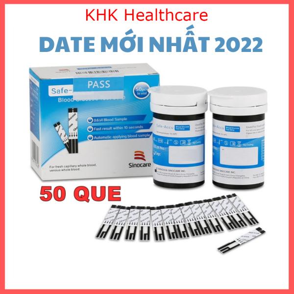 Que đường huyết Sinocare hộp 50 que test tiểu đường - date 2022 KHK Healthcare SINO-1 bán chạy