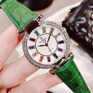 Đồng hồ nữ RoyaI Crown mặt đính đá 7 màu- vỏ Trắng (Silver), dây da màu Xanh, size 36 mm-RC07014 thumbnail