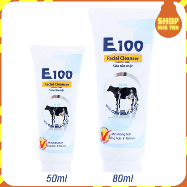 Sữa rửa mặt E100 tinh chất sữa bò dưỡng ẩm chống lão hóa tẩy sạch bụi bẩn bã, nhờn và ngừa mun