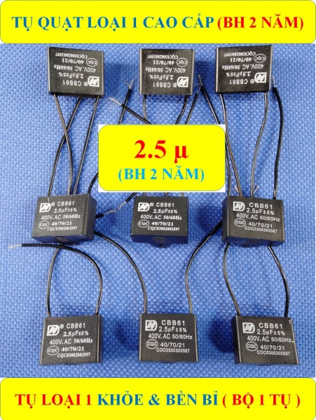 TỤ QUẠT ĐIỆN 2.5 µF (BH 2 NĂM) TỤ LOẠI 1 CAO CẤP KHỎE & BỀN BỈ (bộ 1 sản phẩm)