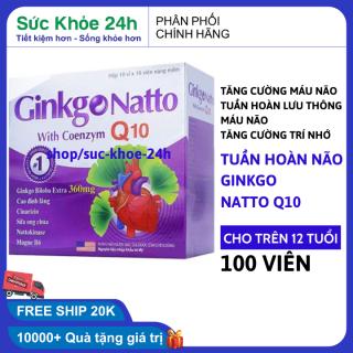 Hoạt huyết dưỡng não Ginkgo biloba coenzym q10 360mg - Giảm đau đầu, hoa mắt, chóng mặt - Hộp 100 viên HSD 2024 , sức khỏe 24h thumbnail