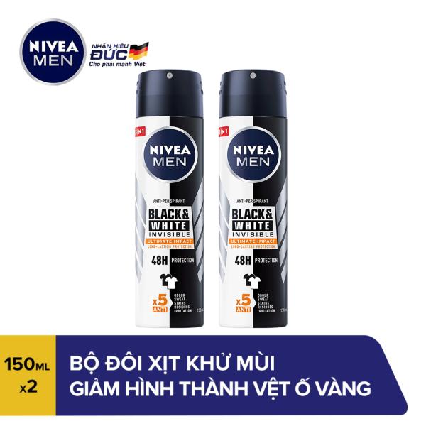Bộ đôi Xịt Ngăn Mùi Giảm Hình Thành Vệt Ố Vàng Trên Quần Áo Dành Cho Nam Nivea Black & White 82241 (150ml x 2) giá rẻ