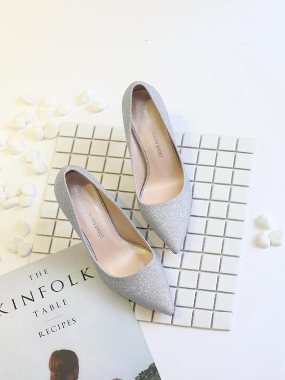 Giày cao gót 9cm da kim tuyến cao cấp 3 màu cực xinh giá rẻ