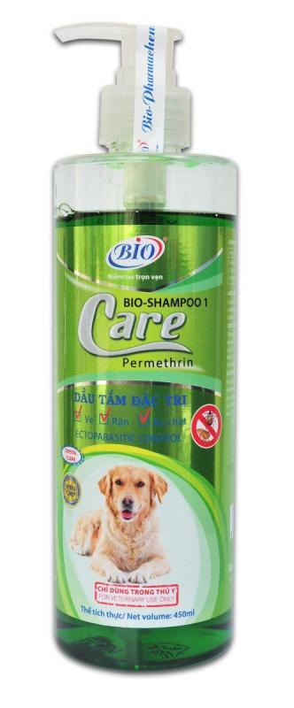Dầu tắm dùng cho chó mèo nhiễm ve, rận, bọ chét Bio Care 450ml