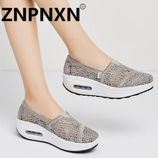 ZNPNXN korean loafers for women ladies flat shoes korean fashion 2020 knit running shoes Vintage Hollow