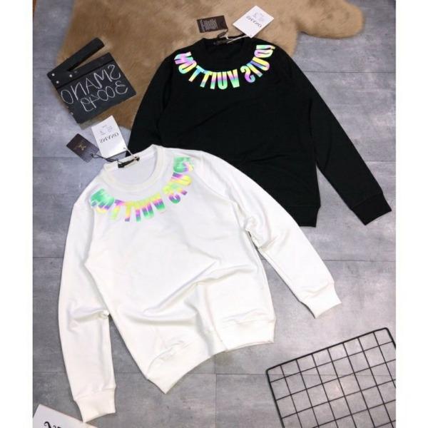 [NỈ LOẠI 1] Áo nỉ bông UNISEX sweater tay dài phản quang 7 màu bo cổ 1