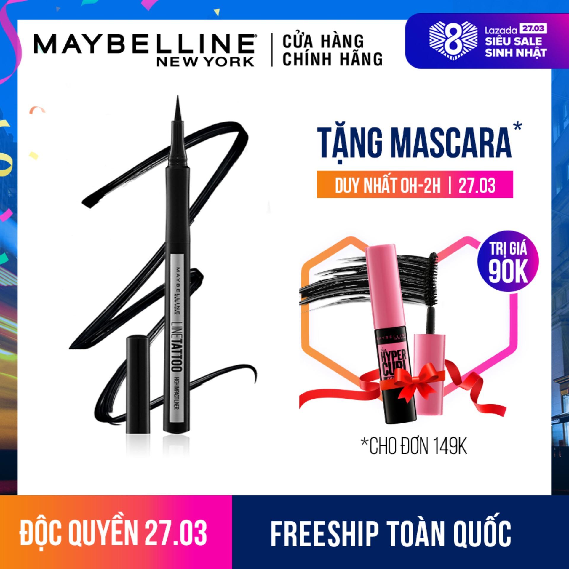 Bút kẻ mắt nước lâu trôi 36H không thấm nước với hạt màu HD Maybelline New York Line Tattoo High Impact Liner 1g