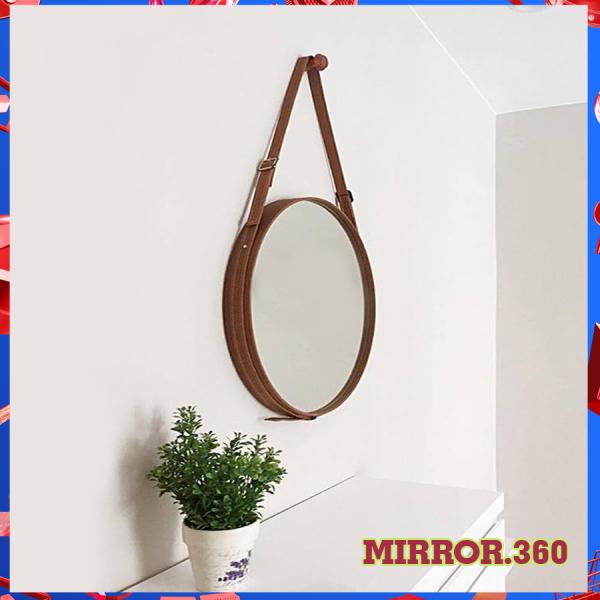 (Size 50cm) Gương Tròn Treo Tường Viền Da Simili (Màu nâu sậm ). Tặng kèm phụ kiện treo gương.