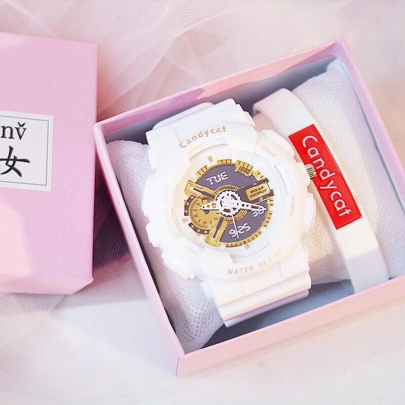 Đồng hồ thời trang nam nữ Candycat chạy kim giả điện tử mẫu mới BL79