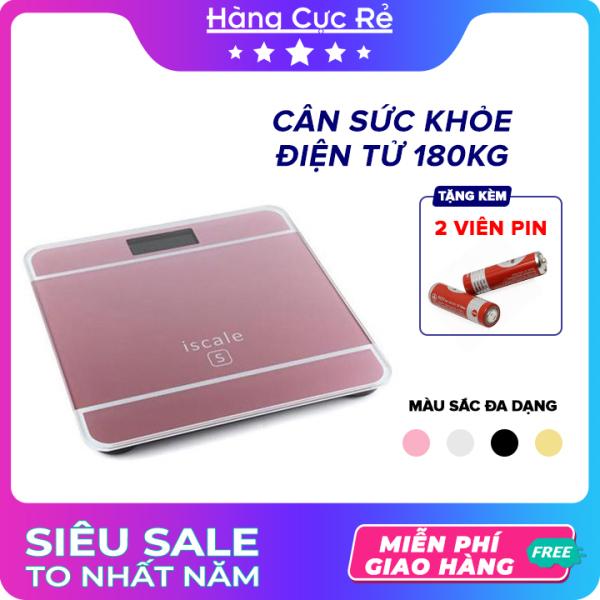 Cân sức khỏe điện tử 180kg HCR + Tặng kèm 2 pin - Cân có màn hình LCD, đo nhiệt độ phòng, mặt kính cường lực - Shop Hàng Cực Rẻ cao cấp