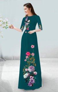 Áo dài truyền thống Mai Lan in hoa Cúc Bách Nhật tay Lửng cao cấp - KHÔNG KÈM QUẦN thumbnail