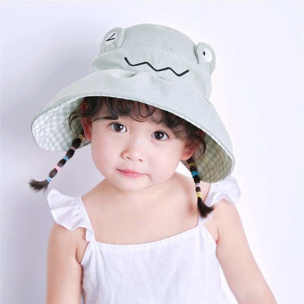 DABULIUXING Có Thể Điều Chỉnh Hàn Quốc Cô Gái Con Trai Trống Phim Hoạt Hình Bọn Trẻ Trẻ Mới Biết Đi Mũ Chống Nắng Mũ Che Ếch Màu Đồng Nhất Mũ Lưỡi Trai