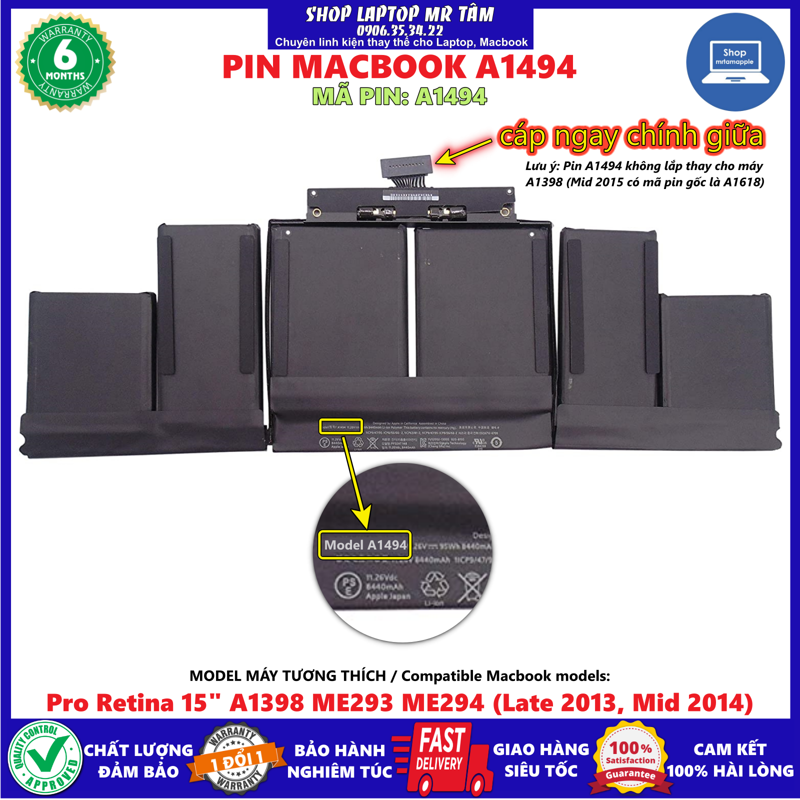 """Pin Macbook A1494 (ZIN) dùng cho Pro Retina 15"""" A1398 ME293 ME294 Late 2013 Mid 2014, sản phẩm đúng mô tả chất lượng, bảo hành sản phẩm (1 đổi mới 1)"""