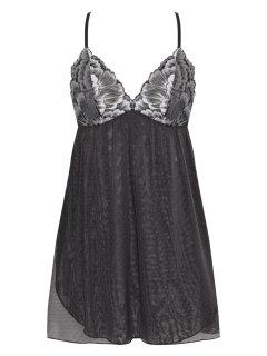Váy ngủ, đầm ngủ ren xuyên thấu cao cấp Corele V. gợi cảm, quyến rũ N025A màu Xám đậm thumbnail