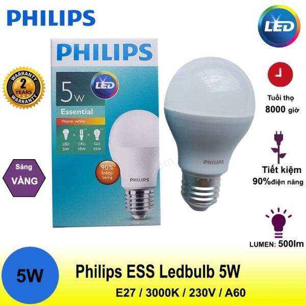 Bóng đèn Philips Ess Ledbulb 5W E27 Ánh sáng trắng