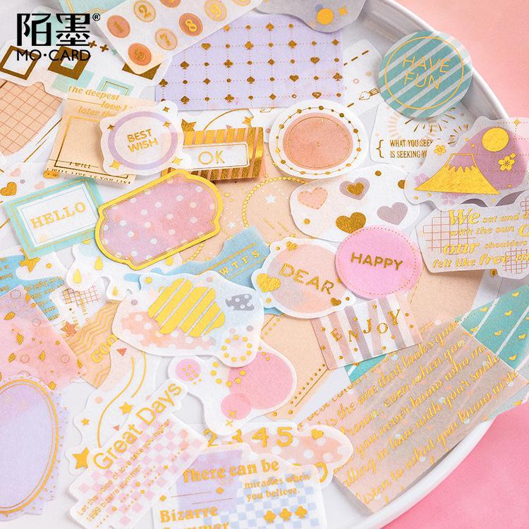 Mua 45 Pcs Macaron Color Sticker Set decoration planner kawaii Feture Style Korean Kawaii Basic Sticky School Supplies diary scrapbook funny kids toys Stationary