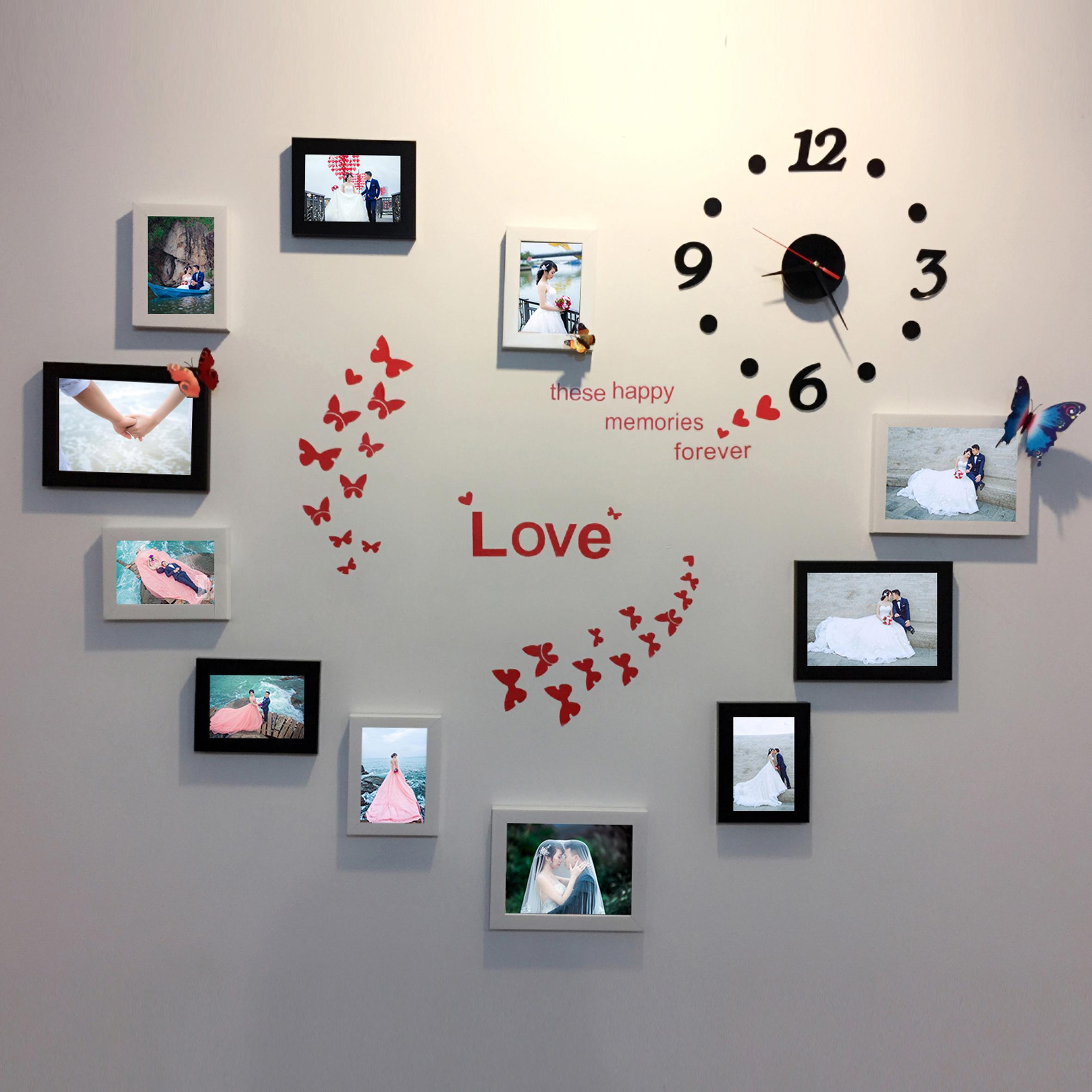 Khung ảnh treo tường trang trí phòng cưới gồm 11 khung kèm đồng hồ và decal