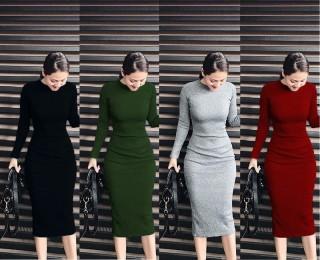 Đầm body dài tay thời trang XIXO cao cấp - chất len tăm dày dặn co giãn không bai xù - Váy body tay dài - đầm body len - đầm ôm body - đầm nữ - váy nữ thumbnail