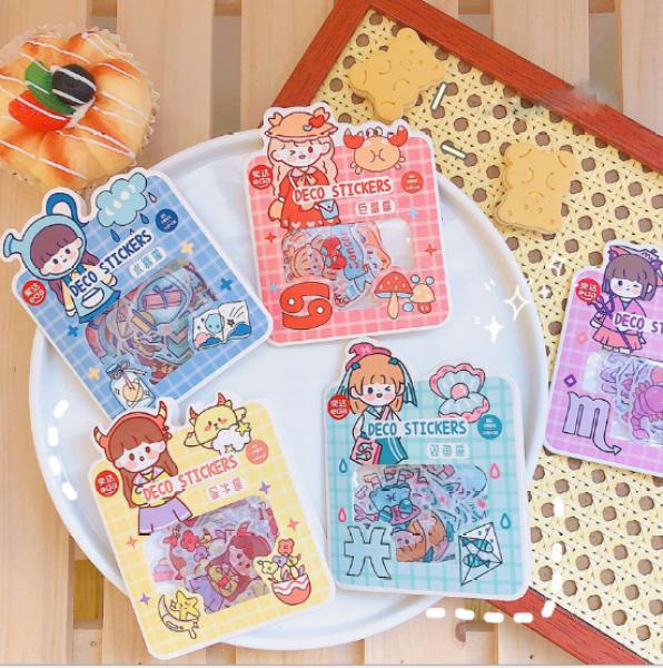 Mua Set sticker dán trang trí 12 cung hoàng đạo màu sắc dễ thương Phụ Kiện