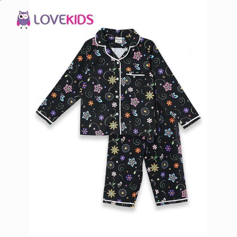 Nơi bán Bộ mặc nhà bé gái - hoa đen Lovekids