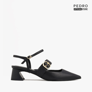 PEDRO - Giày cao gót mũi nhọn Croc Effect Buckled Leather PW1-26220039-01 thumbnail