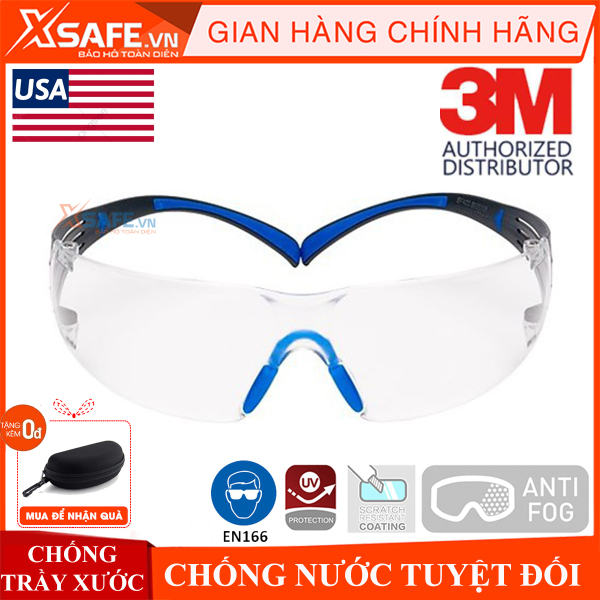 Kính bảo hộ 3M SF401SGAF kính chống bụi, chống hơi nước trầy xước vượt trội, ngăn chặn tia UV, mắt kính đi xe máy, lao động, phòng dịch, chính hãng [XSAFE] [XTOOLS]