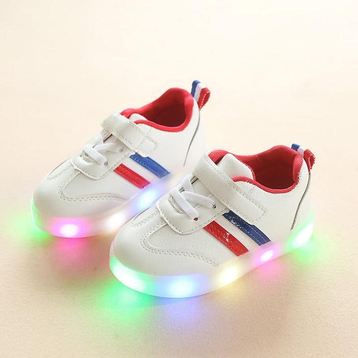 giày sneaker 2 sọc có đèn cho bé trai - bé gái Nhật Bản