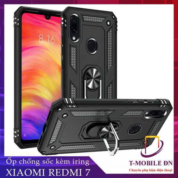Ốp lưng Xiaomi Redmi 7 chống sốc 2 lớp kèm nhẫn iring làm giá đỡ bảo vệ máy toàn diện chuẩn châu âu
