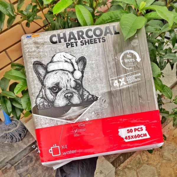 Tã lót vệ sinh than hoạt tính khử mùi Charcoal cho chó mèo (50 miếng)