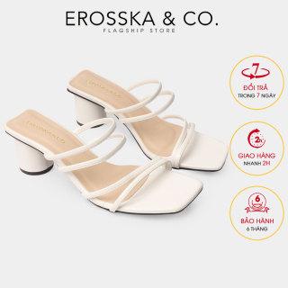 Dép nữ, Dép cao gót thời trang Erosska mũi vuông gót tròn phối dây quai mảnh kiểu dáng đơn giản cao 5cm EM038 (WH) thumbnail