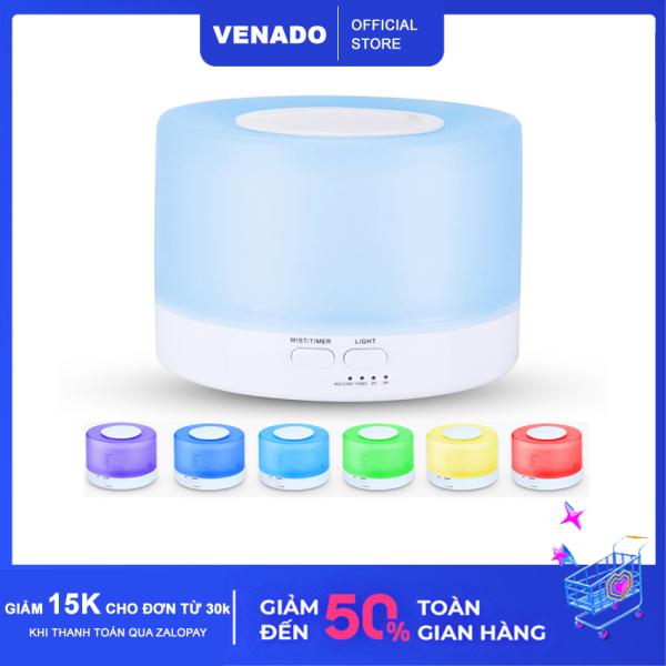 [Loại 500ml] Máy xông tinh dầu hình trụ trắng trong suốt 500ml Nhựa abs có led 7 màu tự động tắt khi hết nước Venado khuếch tán hương thơm, khuếch tán tinh dầu đuổi muỗi -  làm thơm phòng