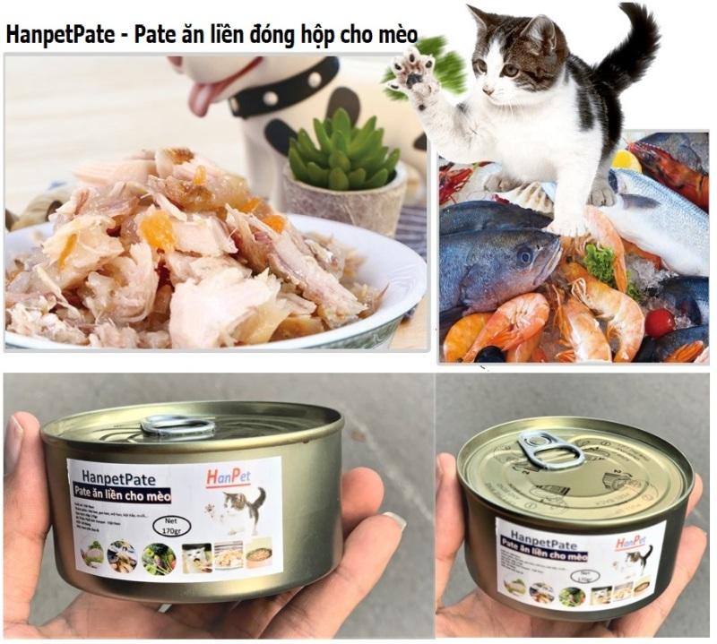 HCM - HanpetPate Lon lớn 170gr - Pate cho mèo - Thức ăn ướt dạng mảnh đóng hộp cho mèo / pate Hỗn hợp ăn liền / thức ăn mèo dạng sốt / dinh dưỡng cho mèo biếng ăn