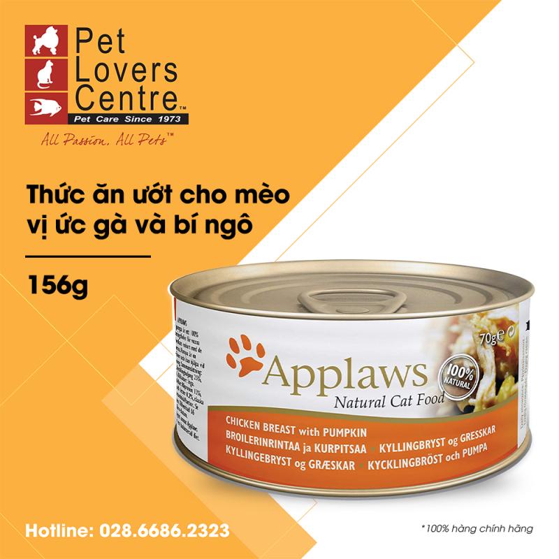 [156g] Thức ăn ướt cho mèo APPLAWS  TIN CHICKEN BREAST WITH PUMPKIN (CATS) 156g