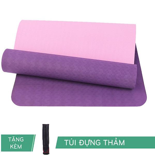 Thảm Tập Yoga Rl Eco Tpe 6Mm 2 Lớp Màu Tím Đậm Tặng Kèm Túi