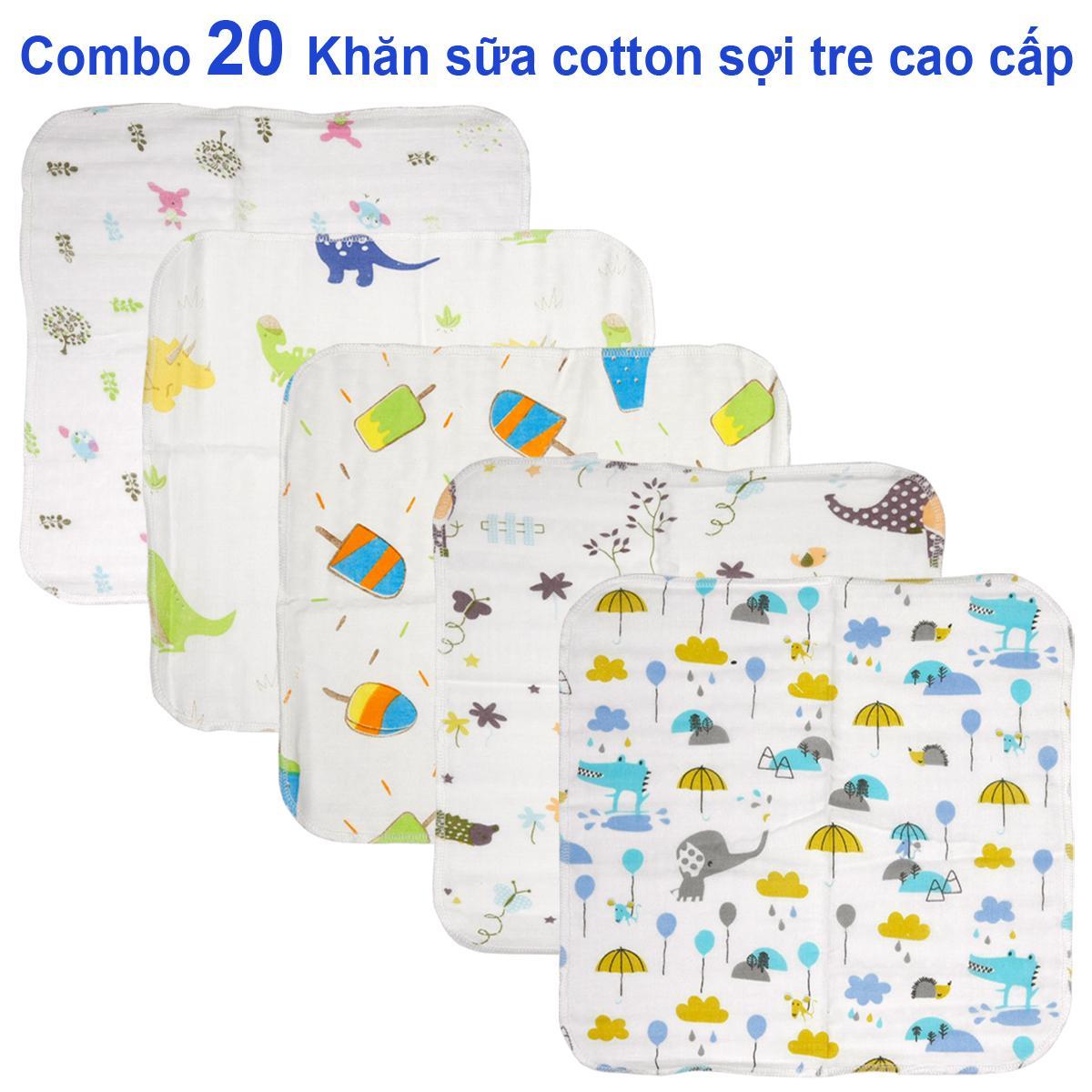 Combo 20 khăn sữa , khăn xô cotton sợi tre...