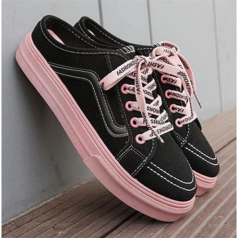 Sục nữ Giày sục nữ độn đế vải da đế hồng thể thao Sneaker trắng đen Shyn Store giá rẻ