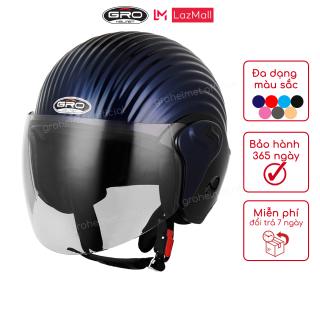 Nón bảo hiểm 3 4 đầu có kính GRO ST318 vân vỏ sò độc đáo, thiết kế đơn giản đẹp, hiện đại thời trang cho các bạn nam và nữ có vòng đầu 56-58cm - Hàng chính hãng thumbnail