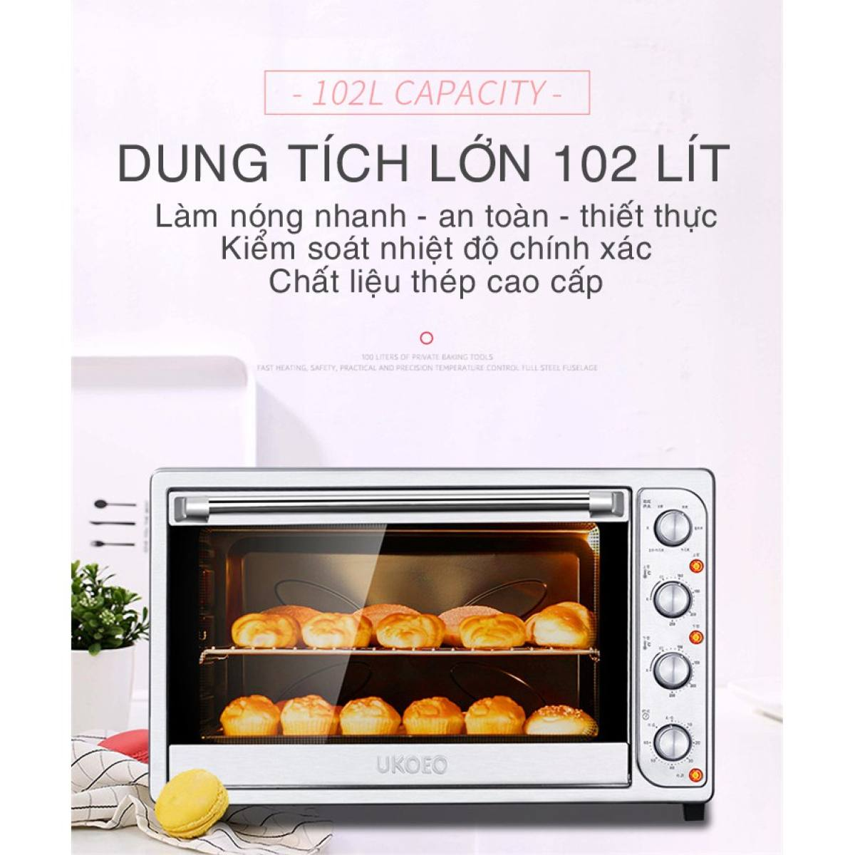 Lò nướng UKOEO 102 Lít- Lò nướng bánh công suất lớn tiện dụng cao cấp- có thể dùng nướng bánh, quay thịt,...