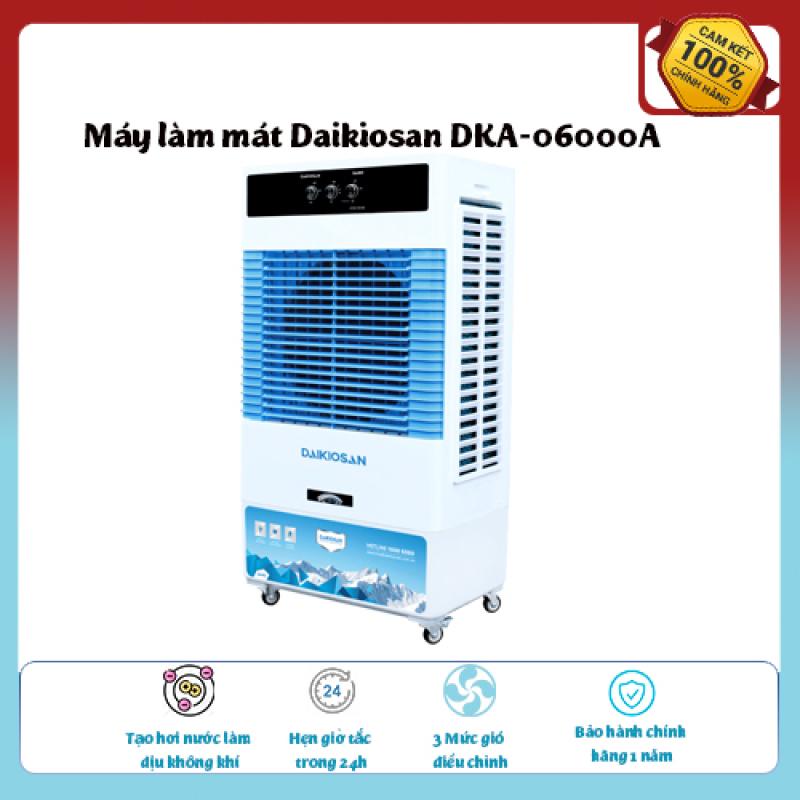 Máy làm mát Daikiosan DKA-06000A...Loại quạt: Quạt điều hòa ,diện tích làm mát 30 – 40 m2., Tạo hơi nước làm dịu không khí,Tốc độ gió: 3 mức, hàng chính hãng chất lượng cao , giá ưu đãi