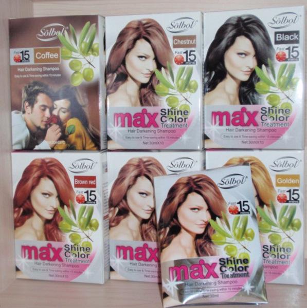 10 gói dầu gội nhuộm tóc thảo dược Max Shine Color Cafe 30ml