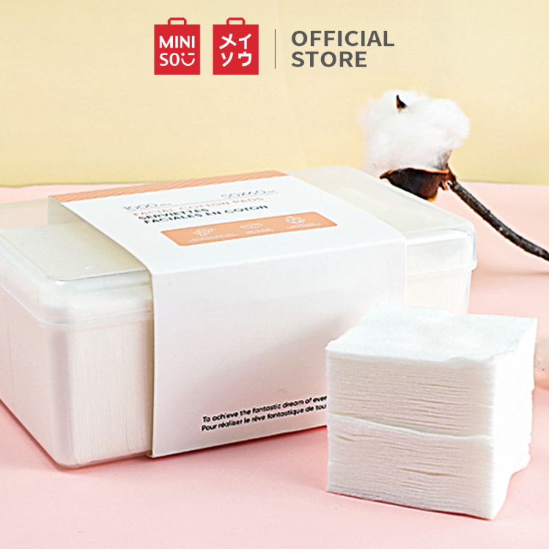 Bộ bông tẩy trang Miniso bong tay trang 1000 miếng bong tẩy trang cotton pad (Trắng) cao cấp