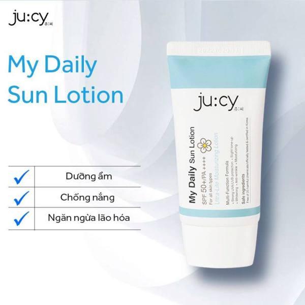 [CHÍNH HÃNG] Kem chống nắng dịu nhẹ, an toàn cho da nhạy cảm Jucy My Daily Sunlotion SPF 50+,PA++++ TẶNG 1 MẶT NẠ COOLTOX MASK giúp giảm stress, làm lạnh tức thì trị giá 30k